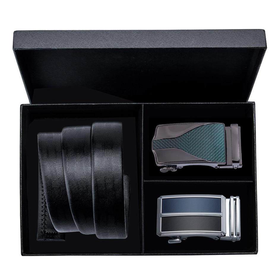DiBanGu Luxury Brand Men Belt Automatic Buckle Black Leather Male Waist Strap Belts Men Double Buckle Gift Box Set 160cm Long