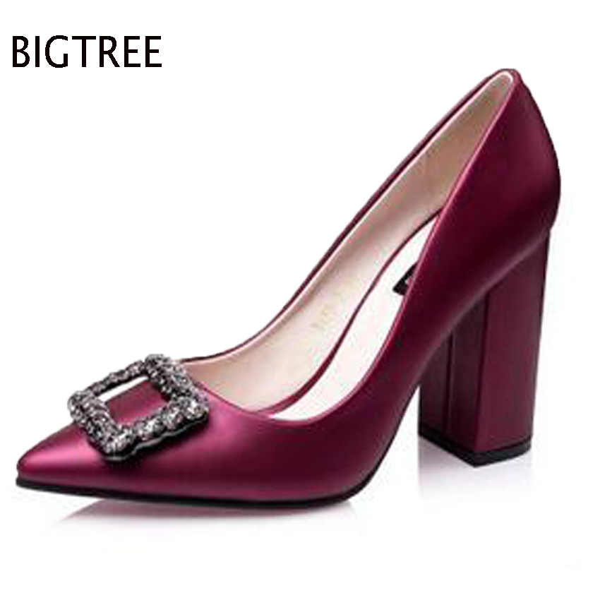 BIGTREE free shipping shoes women 2017Europe shallow mouth thick with square buckle diamond pointed high-heeled shoes 52 ZMX