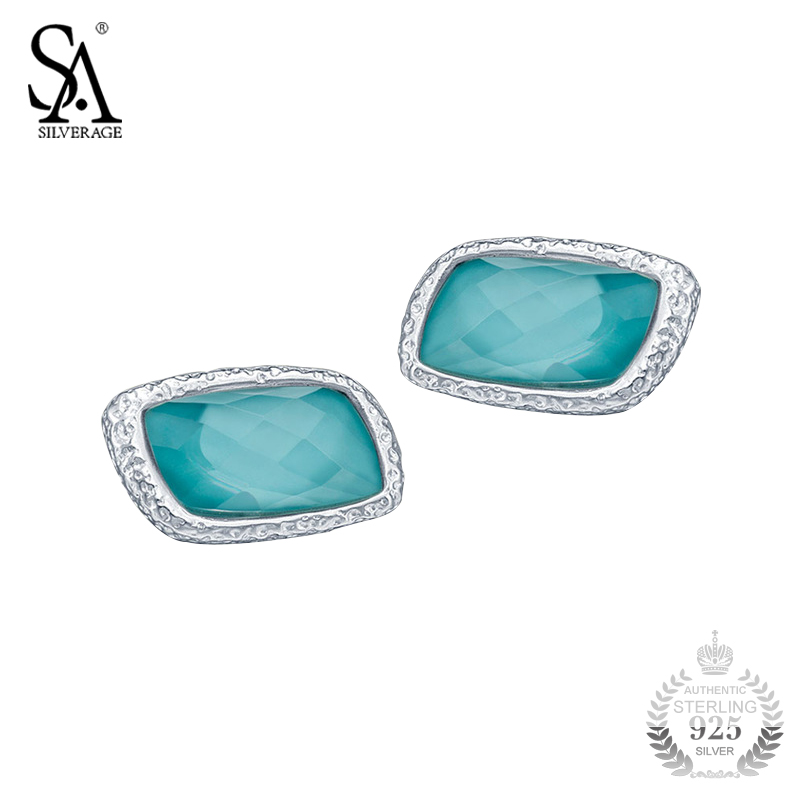 SA SILVERAGE Silver 925 Earrings For Women Geometry Turquoise Stud Earrings Female 2018 Women Chic Fashion Accessory 2018 pair of stylish rhinestone triangle stud earrings for women