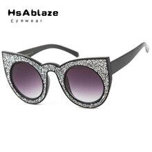 Hsablaze eyewear alta calidad más nueva manera ronda cat eye sunglasses marco gafas vintage gafas lentes gafas de sol mujer