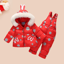 HSSCZL 2018 Children Clothing Set girl Jumpsuit Snow Jacket+bib Pant 2pcs Set Baby Girls Duck Down Jacket Coat white fur 1-3Age