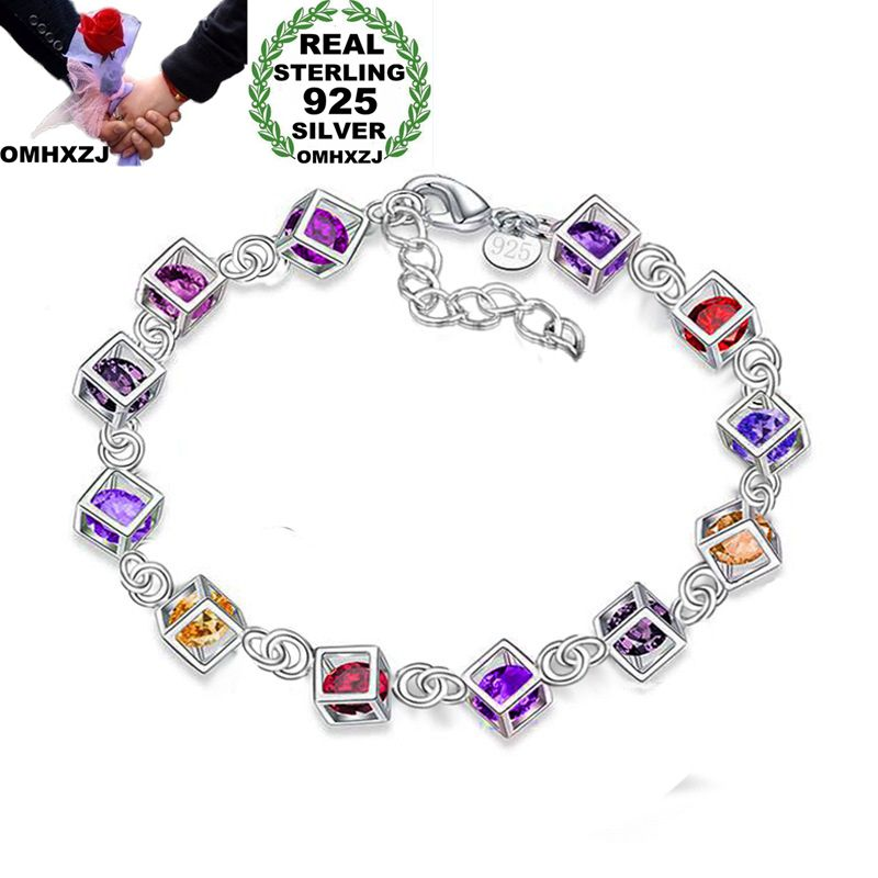 OMHXZJ Wholesale Personality Fashion OL Woman Girl Party Gift Silver Hollow Cube Zircon Chain 925 Sterling Silver Bracelet BR31OMHXZJ Wholesale Personality Fashion OL Woman Girl Party Gift Silver Hollow Cube Zircon Chain 925 Sterling Silver Bracelet BR31