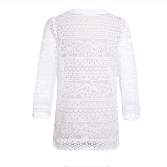 4XL 5XL 2018 Summer Crochet Lace Cardigan Blouse Sexy Fashion Hallow Out  Coats 3 4 0d423b67e639