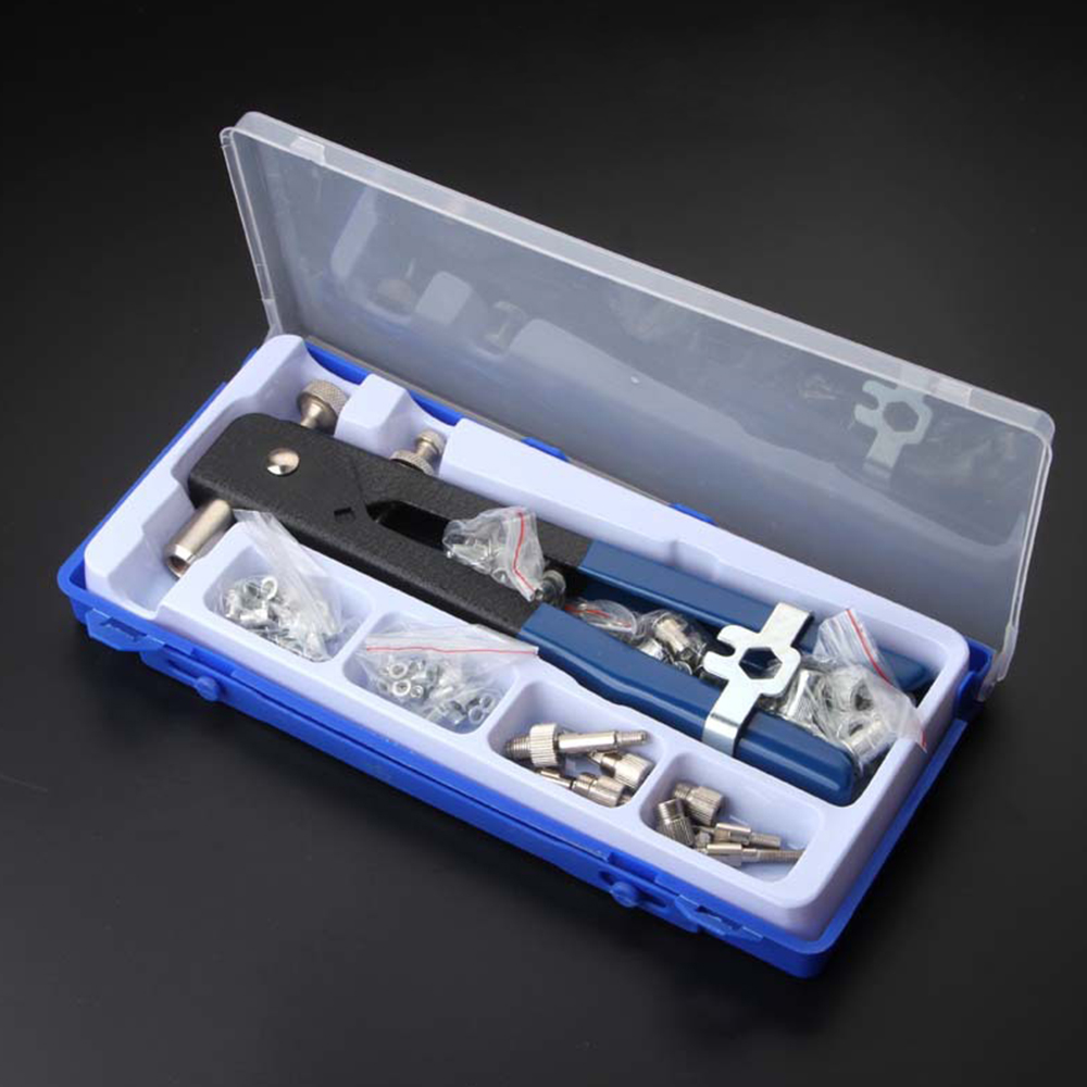 86pcs/set Hand Riveter Nut Rivet Gun Kit M3-M8 Manual Threaded Nut Rive With Rivnut Nutsert Riveting Kit Household Repair Tool