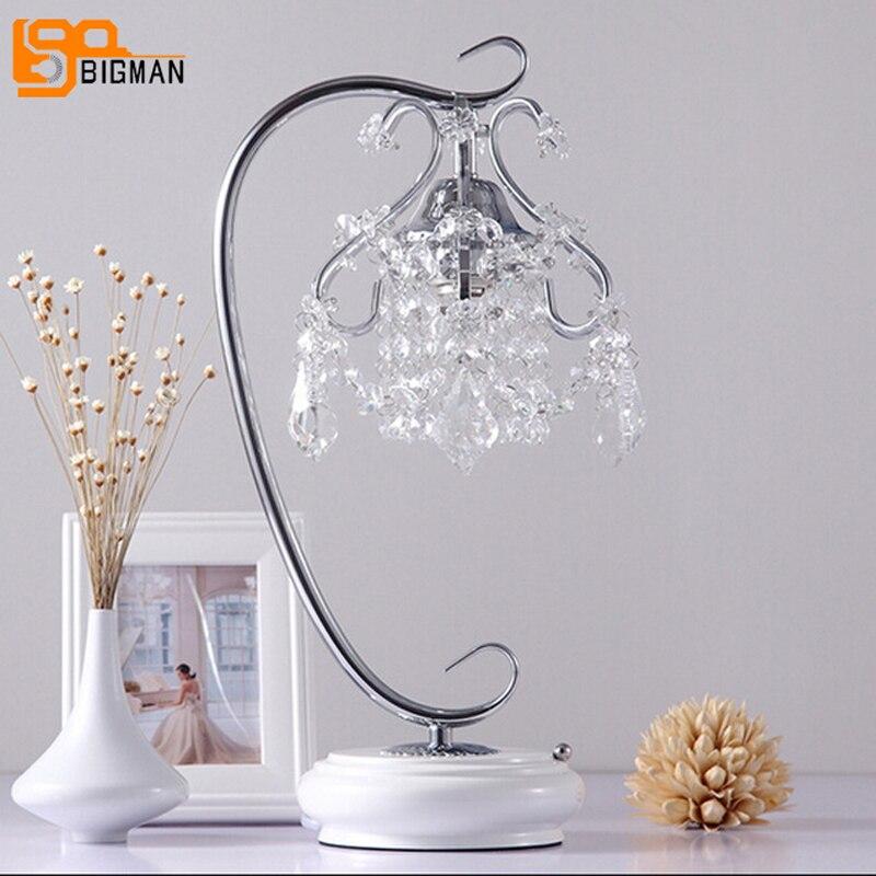 Новый красивый кристалл настольная лампа свет современный кристалл настольные лампы для спальни ...