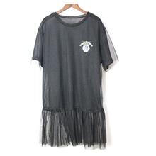 2018 Purl Net Yarn Slim Summer Short Sleeve T-shirt Women Plus Size O-Neck Tshirt Female Tops Tee