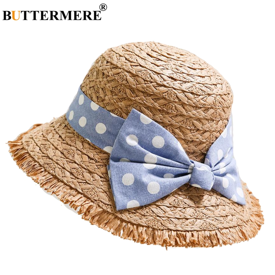 BUTTERMERE Paper Straw Bucket Hat Kids Navy Blue Casual Bob Fishing Hat Girl Cute Uv Bowknot Foldable Child Summer Beach Sun Cap