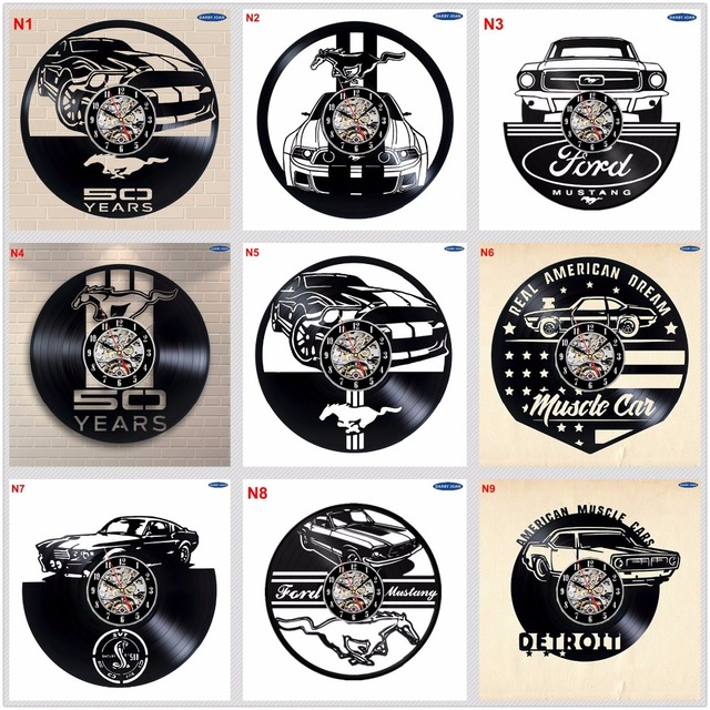 Ford Mustang Handmade Vinyl Record Wall Clock Fun Gift Vintage Unique Home  Decor Car Clocks