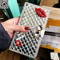 2018 Luxury Red Clip Rhinestone Diamond Case For Samsung Galaxy Grand Neo Plus I9060 / i9082 i9082 Leather Flip Cover Wallet Bag