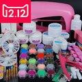 EM-70 9 W UV secador de la lámpara 18 color Polvo de Acrílico y 6 colores glitter polvo de Uñas de Arte Kit, kit de herramientas del arte del clavo + envío libre