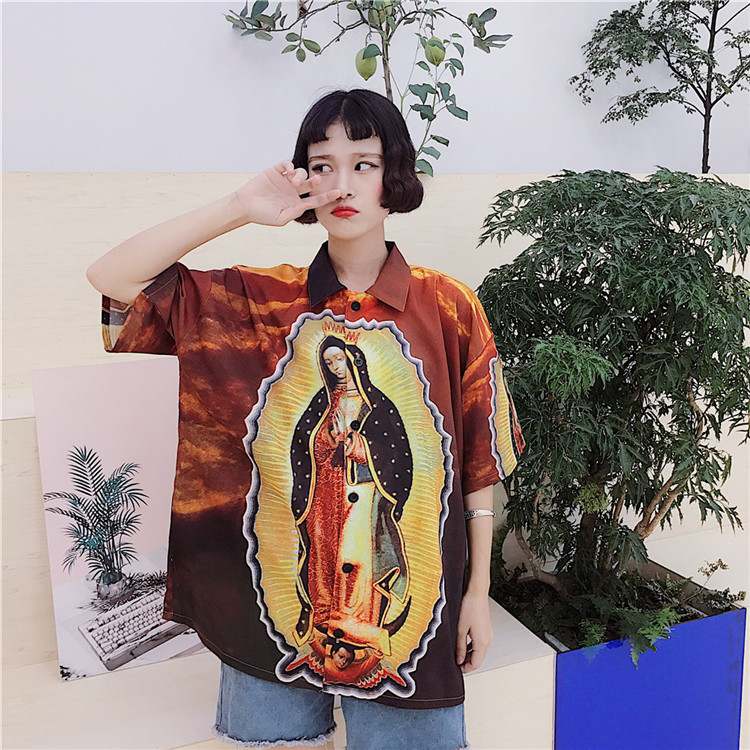 Men High Street Harajuku Rock Fashion Virgin Mary Oil Painting Short Sleeve Loose Long Shirts Plus Size Camisa Luxury Blouse Top 건달 조폭 옷