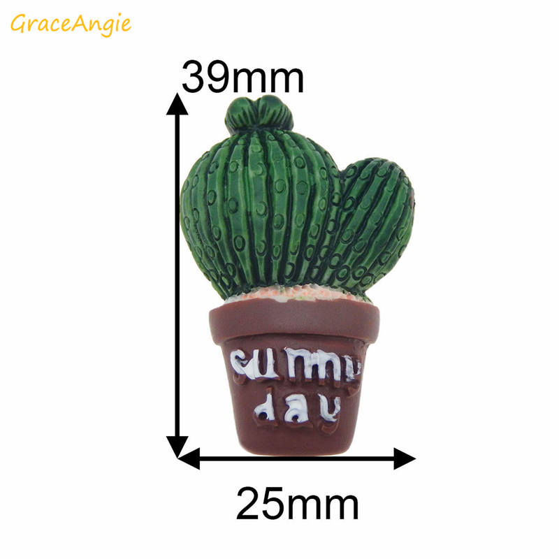 GraceAngie 6pcs lot Resin Cactus Succulent Potted Plants Flatback Cabochon Charms fridge magnet Jewelry Making DIY Findings in Jewelry Findings Components from Jewelry Accessories