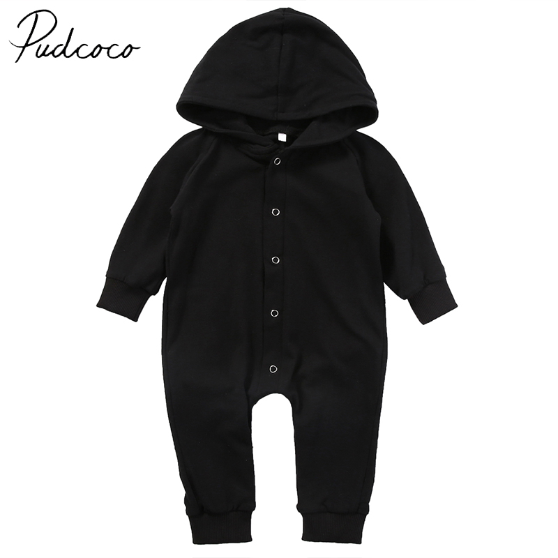 PUDCOCO Brand Cotton Newborn Infant Clothing Baby Boy Kids Clothes Black Romper Jumpsuit Children Outfit 2017 New 0-24M