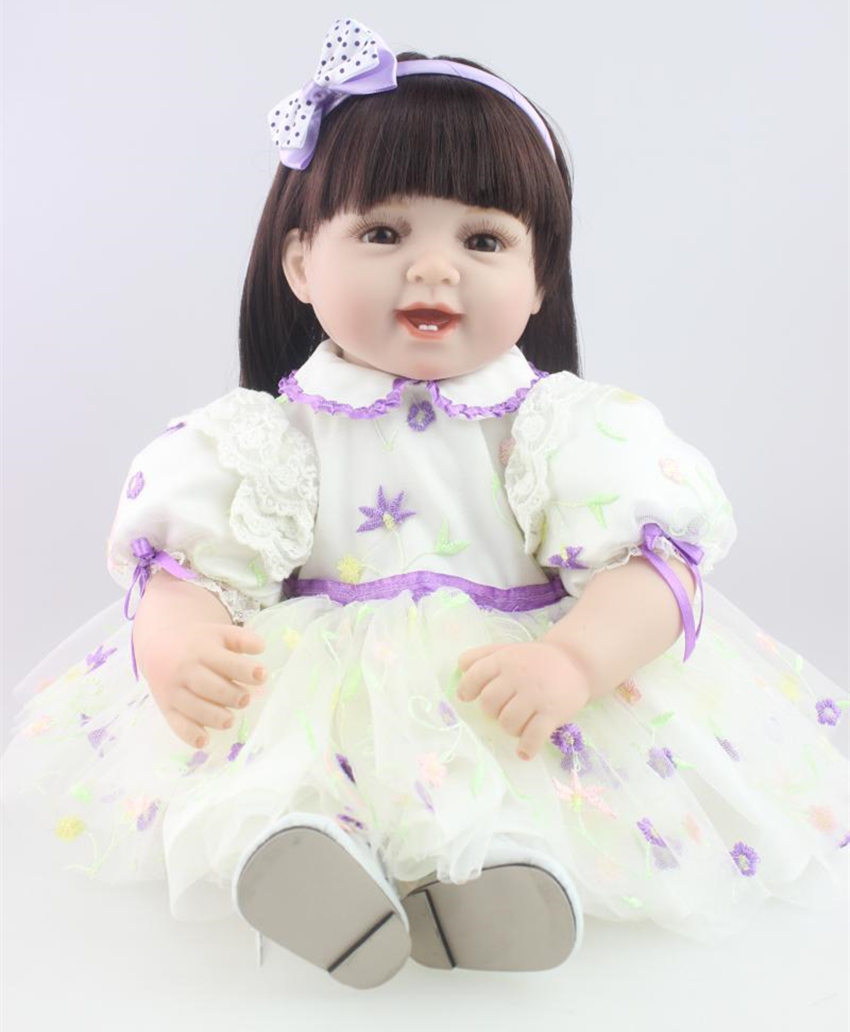 22 Doll Reborn Toddler Baby Girls Short Curly Brown Hair Play Doll Toys Reborn Baby Doll In Princess Dress Birthday Gifts 52cm shoulder length hair reborn toddler baby girl doll smling princess girl doll in flower dress girls toys birthday xmas gifts
