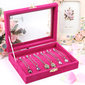 Red necklace display tray fashion jewelry box cover glass pendant receive a case fine necklaces organizer box jewelry display