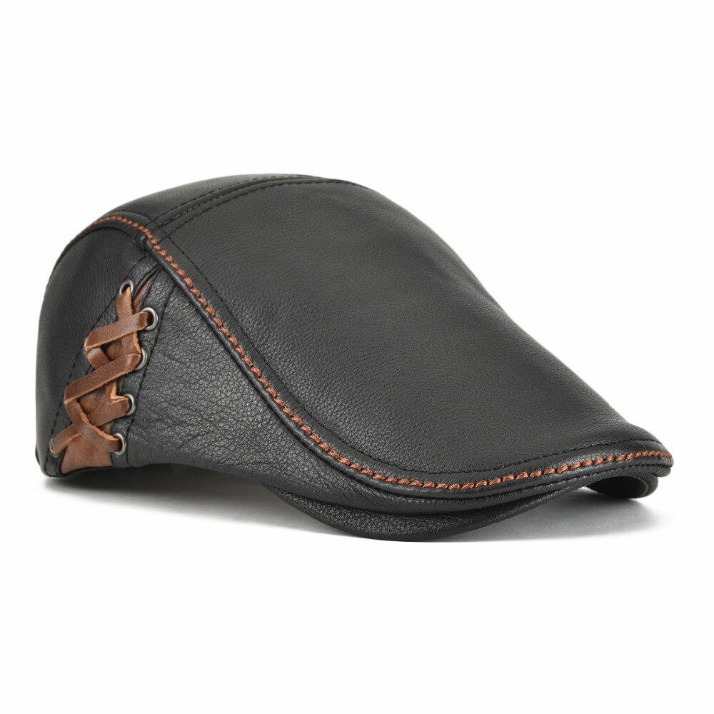 Winter Leather Flat Cap Men Women Cabbie