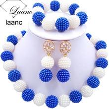 Laanc последние африканские бусины комплект ювелирных изделий королевский синий и белый имитация жемчуга нигерийские Свадебные цепочки и ожерелья AL703