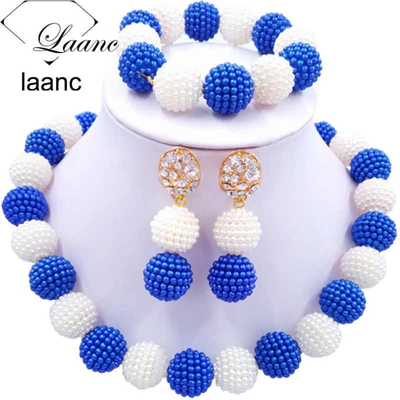 Laanc Latest African Beads Jewelry Set Royal Blue and White Simulated Pearl Nigerian Wedding Necklace AL703