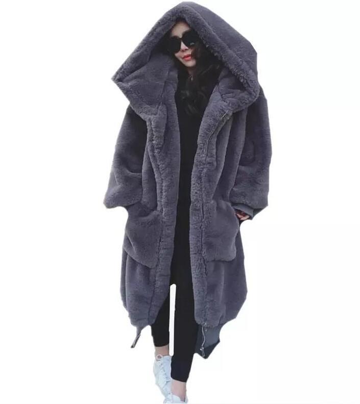 Couleur Casual Moyen 2 Longueur 2018 Fausse Fourrure Longues Nouveau 1 Et Hiver Femmes Solide Taille Grande Manches Long Manteau De xSYzHwnZq