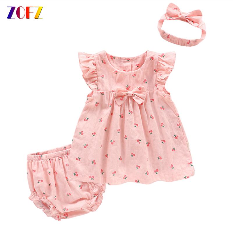 ZOFZ newborn baby clothing cotton baby girls short sleeve set three-piece princess dress set with bow hair band and underpants ...
