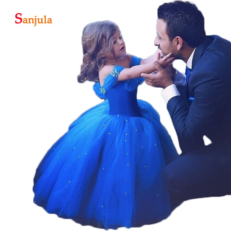 Royal Blue Tulle Ball Gown   Girls   Pageant Party   Dresses   Boat Neck Pealrs Charming   Flower     Girls     Dresses   Handmade Butterflies D928