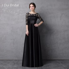 Half Sleeve Black Lace Mother of the Bride Dresses A line Satin Floor Length Formal Wear