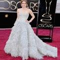 Sweetheart Vestidos de las Celebridades Famosas Brillante Acanalado Con Gradas Saris para Mujeres Oscars Red Carpet Vestidos vestido longo celebridade