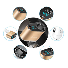Car Phone Charger Cigarette Lighter Extention Multi Function 2 USB 30W QC3.0 YP1F Cell Quick Charge Smart Mobile