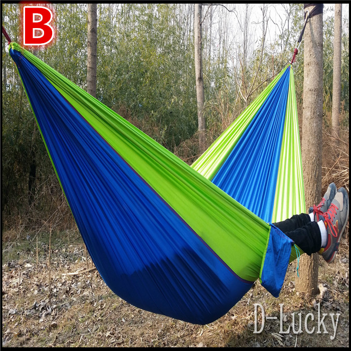 Free shipping Travel Camping Outdoor Nylon Fabric Hammock Parachute Bed for Double Person hammocks 7 colors in stock sgodde assorted color hanging sleeping bed parachute nylon fabric outdoor camping hammocks double person portable hammock