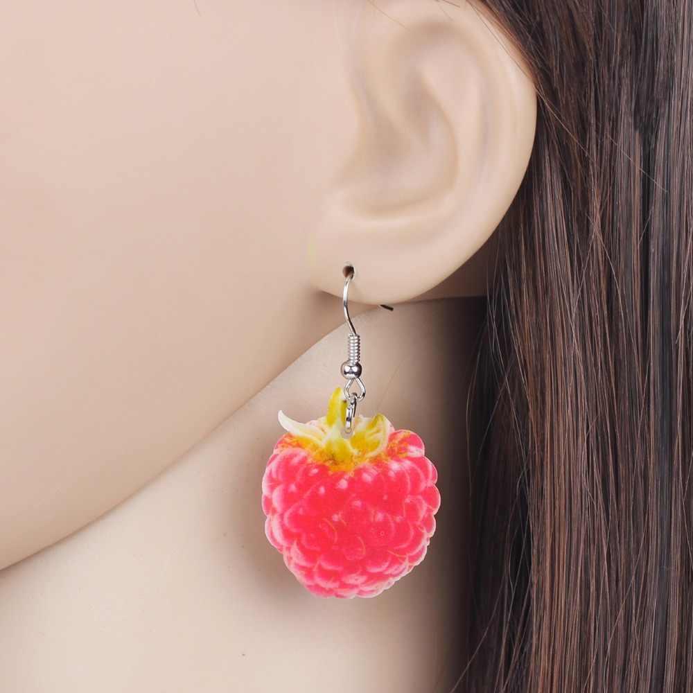 Raspberry WEVENI Acrylic Lucu Earrings Big Panjang Menjuntai Jatuhkan Mode Buah Makanan Perhiasan Untuk Wanita Gadis Wanita Remaja Hadiah Massal