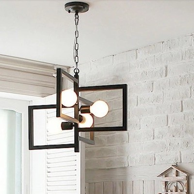 Nordic Korean Art Black White Iron Pendant Light For Living Room Dining Room Bedroom Lamp