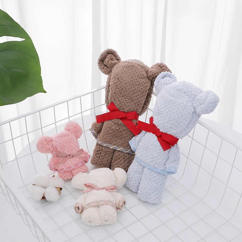 Toalla de baño del bebé del oso con forma para pastel de secado rápido Toalla de cara paño sólido regalos de boda Animal presente Plaza albornoz con capucha