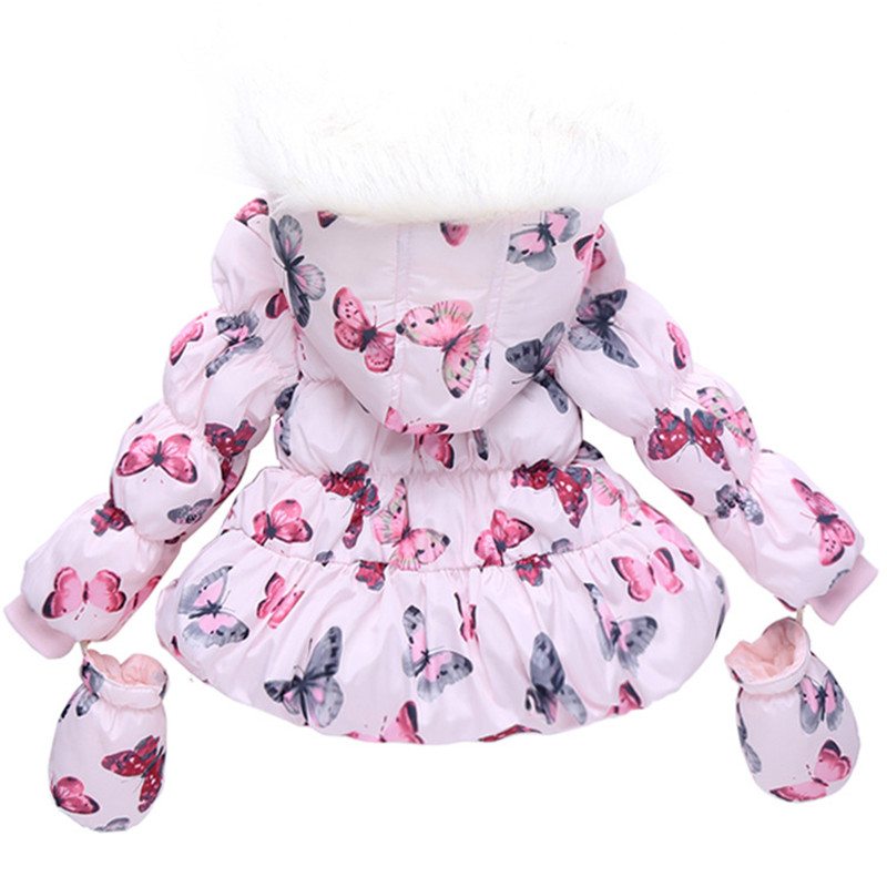 50ca24dcc1b1 2017 New girls parka Butterfly girls winter jacket cotton fabric ...