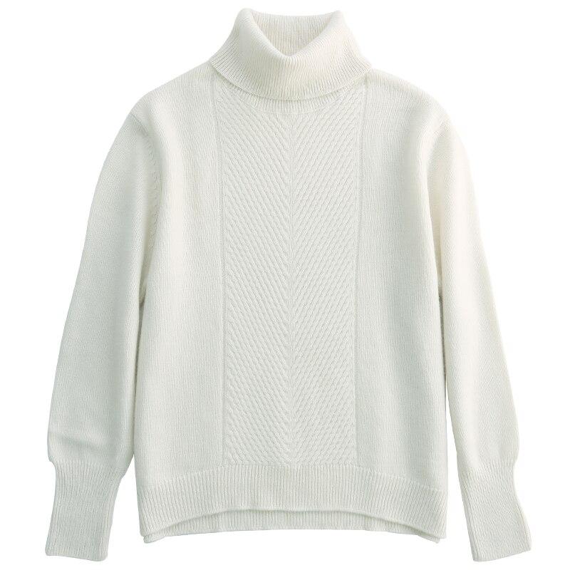 Jersey à manches longues col roulé pull femmes cachemire laine chaud hiver Jersey chemise automne veste tricoté femme mode nouveau