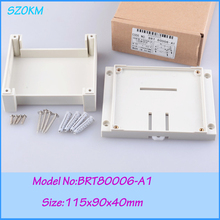 5 pieces free shipping 115x90x40mm  abs din rail enclosures electronics box for pcb housing
