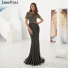 JaneVini Luxury Crystal Dubai Long Evening Dresses 2019 Scoop Neck Sparkling Beaded Sexy Mermaid Black Tulle Formal Party Gowns gorgeous coral mermaid prom 2019 new v neck luxury crystal tulle beaded backless sequin long formal gowns bridesmaid dresses