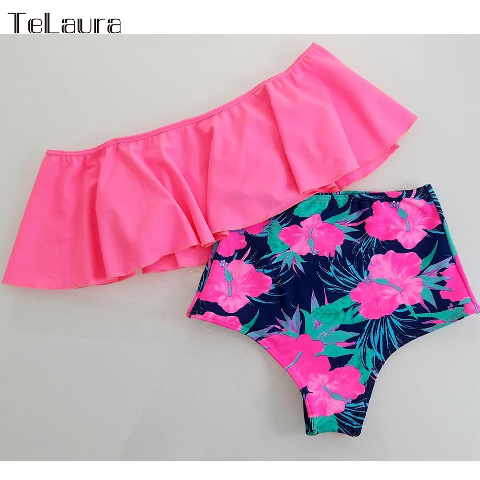 2019 New Sexy High Waist Bikini Swimwear Women Swimsuit Off Shoulder Bathing Suit Biquini Ruffle Brazilian 2019 New Sexy High Waist Bikini Swimwear Women Swimsuit Off Shoulder Bathing Suit Biquini Ruffle Brazilian Bikini Set Beachwear