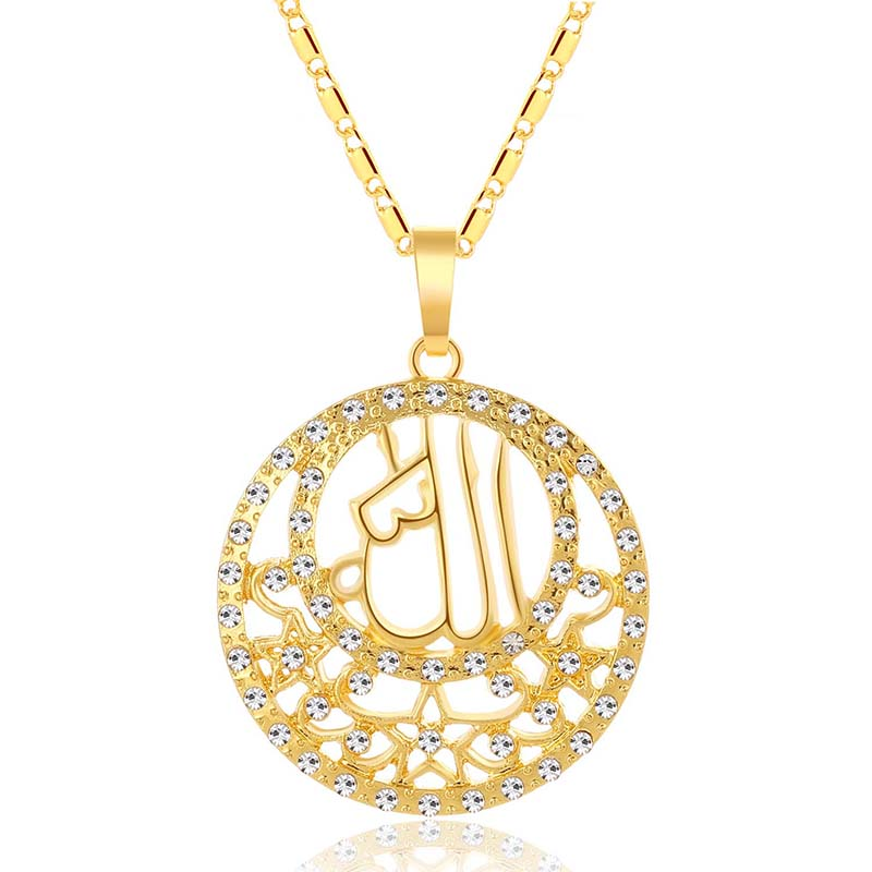 New vintage circular hollowed-out female middle eastern Muslim pendant necklace for Jewelry accessories