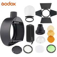 Godox S-R1 Flash Adapter Ring W/AK-R1 Flash Light Accessories Kit Barn Door Snoot Color Filter Reflector Honeycomb Diffuser Ball цена