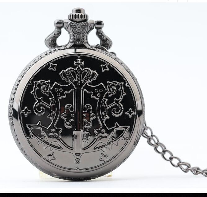 New Fashion Black Kuroshitsuji Black Butler Quartz Pocket Watch Analog Pendant Necklace Men Women Watches Gift Luminous Watch