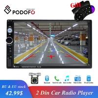 Podofo Autoradio 2din Radio 7 HD Touch Screen Bluetooth 2 din car radio USB SD Multimedia MP5 Player Rear View Camera Radio Car