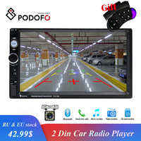 Podofo Autoradio 2din Radio 7 HD Touch Screen Bluetooth 2 din car radio USB SD Multimedia MP5 Player Rear View Camera Radio Car