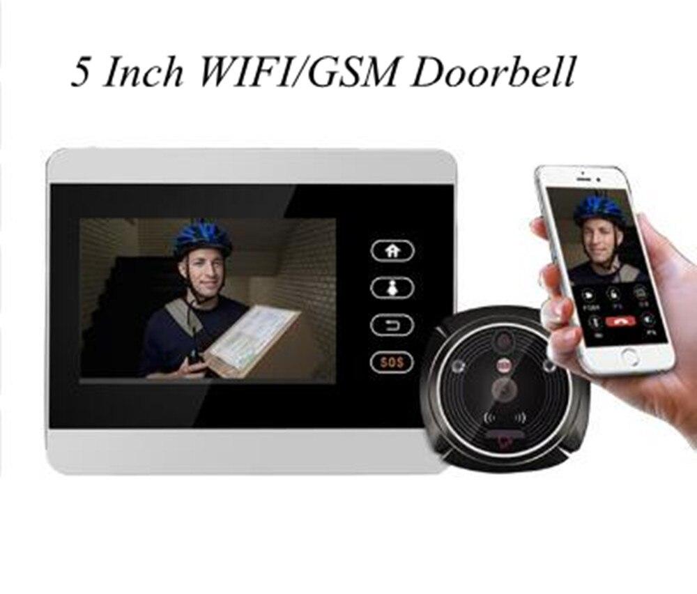 3,7/5/7 дюймов WI-FI GSM двойного назначения видео домофон глазок