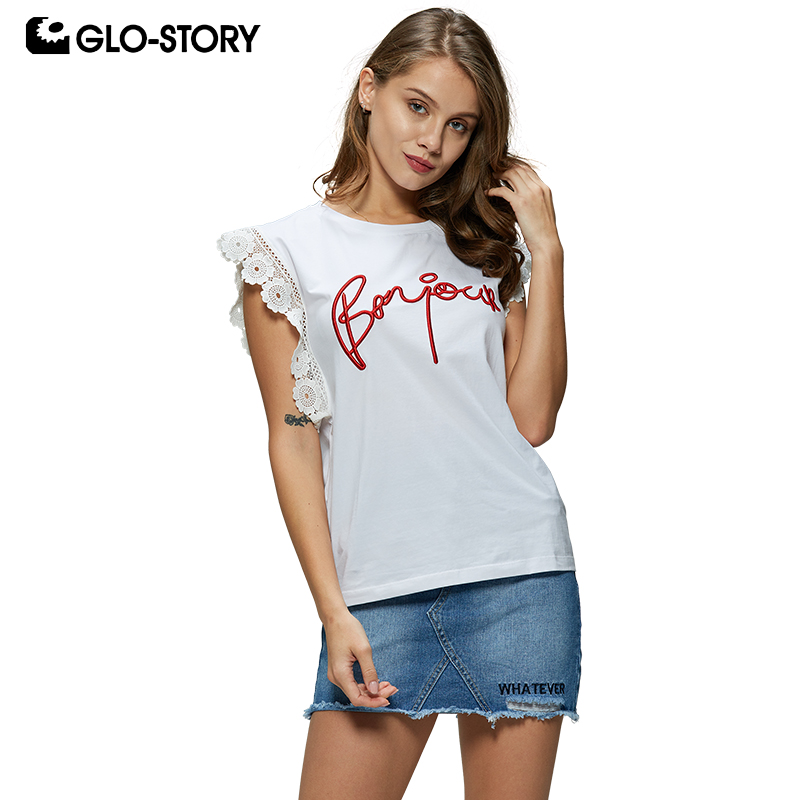 GLO-STORY 2019 Women Clothing Summer Casual Letter Lace Short Sleeve White T-Shirts Ladies Tops WPO-8173