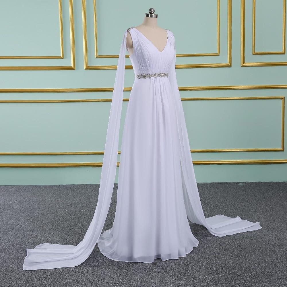 V-neck Long Chiffon Watteau Train Grecian Beach Wedding Dress