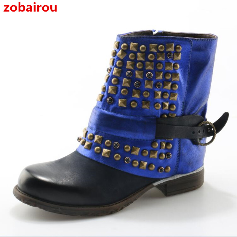 Zobairou 2018 Punk Style Western Flat Cowboy Rain Boots Genuine Leather Combat Rivets Ankle Boots Riding Motorcycle Shoes Woman