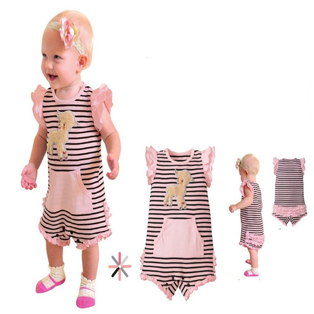 Free Shipping Wholesale Summer clothes baby girl striped short sleeve romper pink floral kids clothing wear garment New Arrival