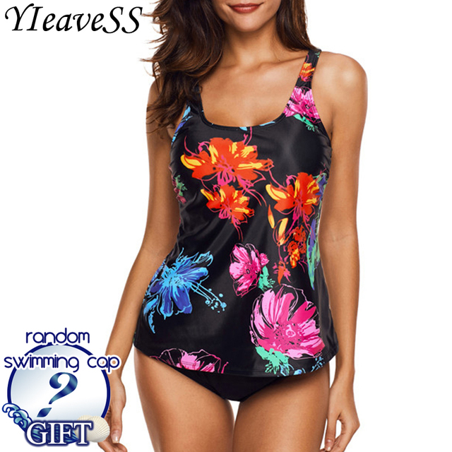 1bfd0ee7eb 2019 Plus Size Tankini Swimming Suit 5XL Tow Piece Frint Floral Loose  Swimsuit Women's Separate Bikini