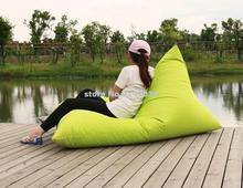 1 assento dobrável espreguiçadeira saco de feijão cadeira com apoio para as costas, espreguiçadeira ao ar livre à prova d' água