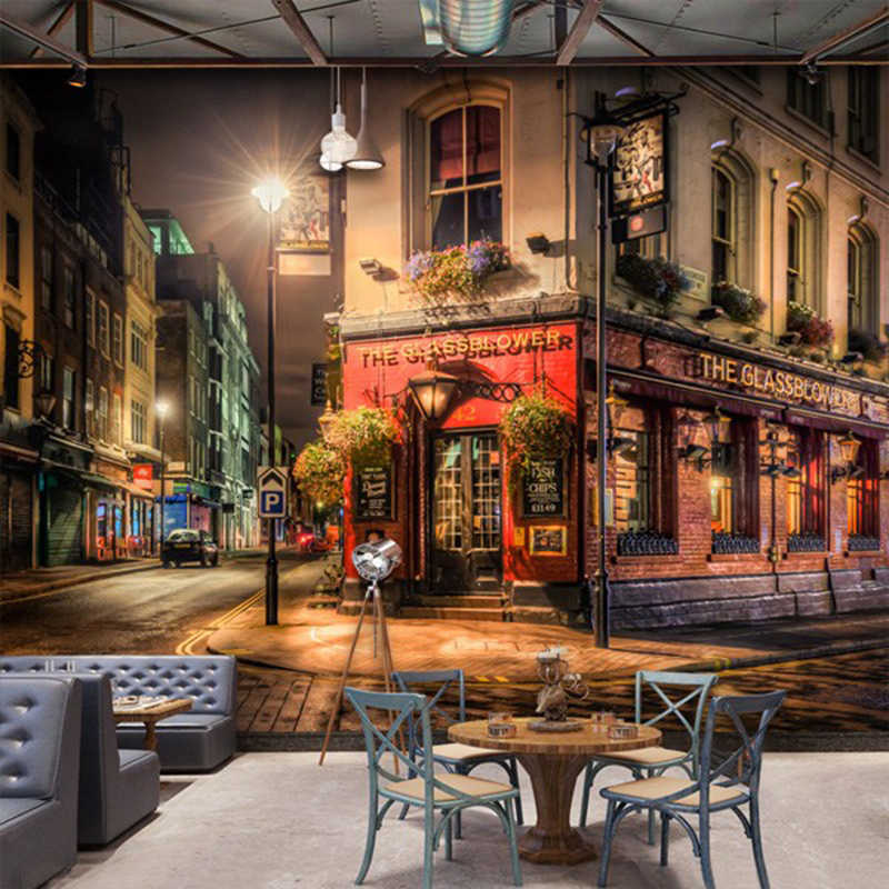 Custom 3D Wall Mural City Night View Wallpaper Bar Cafe Restaurant Backdrop Wall Decoration Fresco Papel De Parede 3D Paisagem
